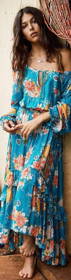 boho blue floral maxi summer dress @roressclothes closet ideas women fashion outfit clothing style apparel .