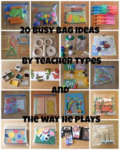 teacher types: 20 Busy Bags Ideas for Busy Little People Quiet Time Activities, Toddler Learning Activities, Infant Activities, Preschool Activities, Toddler Airplane Activities, Indoor Activities, Summer Activities, 1year Old Activities, Toddler Travel Activities