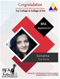 """Congratulations  Sunaina Student of Bfa Entrance ( A Unit of Kalabhumi Arts- India's No-1 World Record Holder Institute)  Crack BFA Entrance exam Top  Rank in Applied Art  Top College in India College of Art... """"Many, many congratulations on your impressive performance"""" Sunaina Top Colleges, Record Holder, Bachelor Of Fine Arts, Entrance Exam, Hand Sketch, World Records, Visual Communication, Drawing Sketches, Coaching"""
