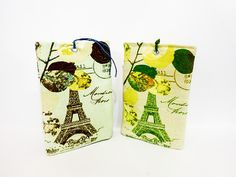 Fabric Luggage Tags Eiffel Tower and French by handjstarcreations, $14.50