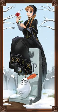 Frozen Edition - This is great! From the stretching room - unknown artist. Anna and Olaf Disney Nerd, Disney Fan Art, Disney Love, Disney Frozen, Disney Parks, Dark Disney, Disney Stuff, Haunted Mansion Disney, Disney Crossovers