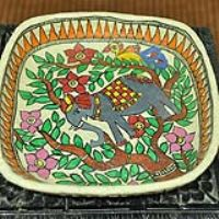 description when pinned:  Madhubani Painted Papier Mache Tray. This can also be used as a wall hanging.