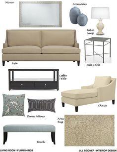 Arlington Heights, GA Online Design Project Living Room Furnishings Concept Board
