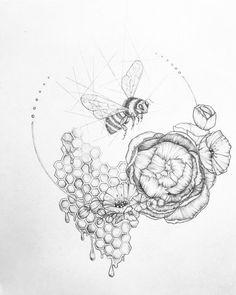 ) drawing magic on a rainy day. Art Drawings Sketches, Tattoo Sketches, Tattoo Drawings, Body Art Tattoos, Tatoos, Twin Tattoos, Arte Sketchbook, Bee Art, Piercing Tattoo