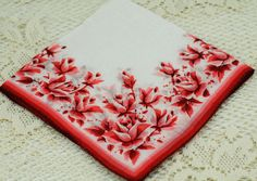 Vintage Hankie Beautiful Red and White E19