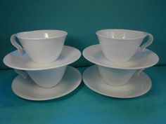 Vintage Corelle, Winter Frost Pattern Corelle, 8 Piece Set, 4 Hook Cups,4 Saucers by SETXTreasures on Etsy