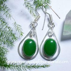 Green Onyx Crystal Gemstone Earrings Sterling Silver