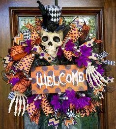 Halloween skeleton wreath, skeleton top hat, halloween welcome wreath