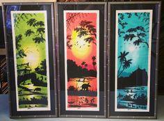 Three piece set of original art framed in @larsonjuhl's Simpatico! #art #pictureframing #customframing #denver #colorado