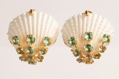 Earring with White Shell and Blue Quartz by Bounkit