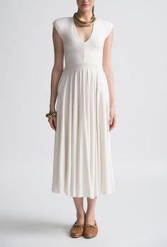 Nadia Tarr Dove Capped V-Neck 3/4 Dress