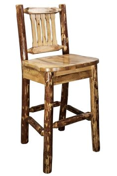 """Grab a cold drink and seat yourself on this fine example of rustic style and charm.  This barstool is the perfect finishing touch for your bar or bistro table.   The Montana Woodworks® barstool with back is handcrafted using solid, American grown wood.  Seat height is 30"""", perfect for most bars and higher tables or just to sit at the breakfast bar. This model features the ergonomically designed standard wooden seat."""