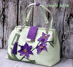 """Купить Саквояж """"Орхидея"""". Резерв Ирина - мятный, однотонный, лаванда, мята и лаванда, мята и серень"""