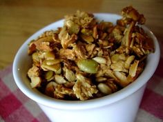 """Made this recipe, minus coconut and replaced nut mixture with """"Cranberries n' More"""" snack mix (cranberries, sundlowr nuts, cahsews pumpkin seeds, almonds and apples)  from produce section of store.  Added a few more raw sliced almonds and 2T. of flax.  YUMMY!!  Could not find plain pumpkin seeds in my nearby grociers."""