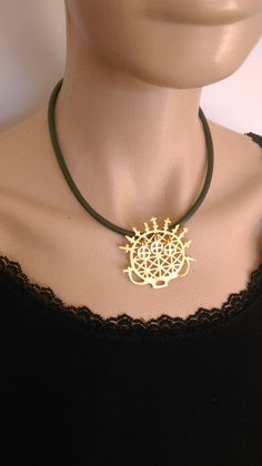 Hittite sun pendant necklace,giftsforher,bohemian jewelry,ethnic,Middle East,gold color,statement neck,leather,green,historical,boho by KamerJewels on Etsy