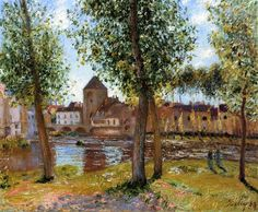 Alfred Sisley (British Impressionist landscape painter, 1839–1899) Poplars a Moret sur Loing, an August Afternoon, 1888. Oil on canvas, 59 x 73 cm. Private collection.