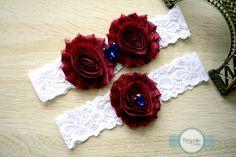 Wedding Garter Set Burgundy Garter Deep Red by BespokeGarters