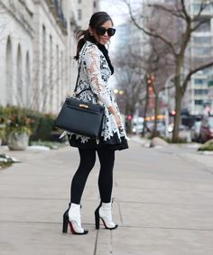 Black &White Crochet Lace Flare Dress, Hermes Kelly Bag, Christian Louboutin Lace Up Calf Hair Booties - THAT GIRL GICK