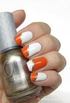 White and orange nails (c) Mari's Nail Polish Blog