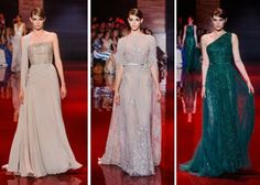 1.ELIE SAAB Haute Couture Autumn-Winter 2013-14 All three gowns have the design element of the bell-shaped skirt. The image on the far left, has a fuller look to it similar to compared historic picture. The waist line in all three images are on the natural waistline similar to compared image.