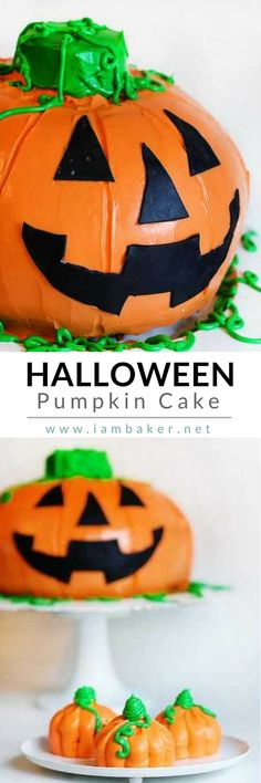 Surprise your kids with this easy Halloween Pumpkin Recipe- Pumpkin Cake! Perfect for dessert! Make your Halloween fun and exciting! Pin this to your Halloween Recipes board. @iambaker #iambakerdessert #iambaker