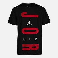 Front view of Boys' Air Jordan Retro 12 T-Shirt in Black/Gym Red Boys Shirts, Sports Shirts, Cool T Shirts, Jordan Outfits, Nike Outfits, Shirt Print Design, Shirt Designs, Camisa Nike, Jordan Retro 12