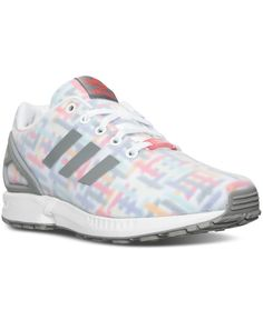 new product 140c1 e1d3b adidas Girls  Zx Flux Print Casual Sneakers from Finish Line - White