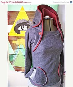 DESTINATION AUSTRALIA  the Amazing Hoodie-- double collar hooded sweatshirt, buttoned versatility, pockets delight. $64.60, via Etsy.  // pinned by @Patrick Welker