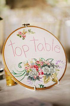 Embroidered hoops, vintage china, a retro pastel car and lots more vintage deliciousness. Photo by Roger Kenny from the Portrait Rooms Gift Table Wedding, Wedding Table Linens, Best Wedding Gifts, Wedding Table Numbers, Wedding Book, Wedding Favours, Wedding Ideas, Autumn Bride, Fibre And Fabric
