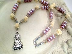 Lady of Compassion: Kuan Yin Devotional Necklace - White Resin Roses & Corn Pearls  - goddess, Quan Yin, Buddhist, boddhisattva, compassion by FiberWytch on Etsy