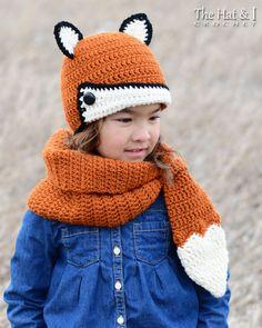 Crochet Cowl & Hat PATTERN - Fox Fancy - crochet pattern for fox scarf + fox beanie hat (Toddler Chi Knitting For Kids, Crochet For Kids, Baby Knitting, Crochet Scarves, Crochet Clothes, Crochet Hooks, Fox Scarf, Fox Hat, Hat Hooks