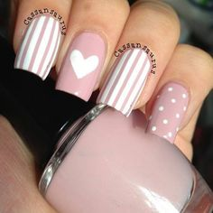 99 Stunning Diy Heart Nail Art Ideas For Valentines Day - Nails Design Heart Nail Designs, Elegant Nail Designs, Elegant Nails, Nail Art Designs, Mint Nail Designs, Nails Design, Design Design, Design Ideas, Heart Nail Art