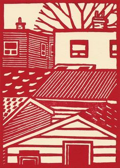 Lino cut by catorart / Eric Cator - linocut, woodcut, block print .... Love them!