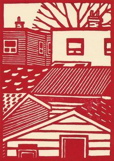 #linocut #houses