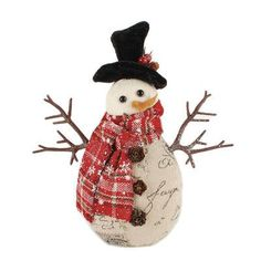 Blossom Bucket Small Standing Snowman with Plaid Scarf Figurine