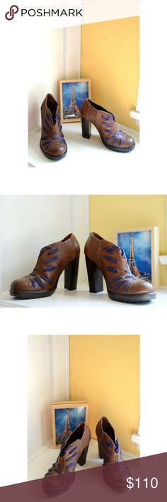 STUNNING French-Designed Vanessa Bruno Booties These are so magnificent, & I hoped one day my feet would fit into these size 38s; they've sat in my closet, unused. Recently found a 38.5! These are in immaculate, never worn condition; a couple of micro-scuffs from sitting next to each other in the closet, but nothing a finger rub won't eliminate fully. See the photos - they're pristine. These fit a 7.5 or even a wider 7. But listing as 7.5. the heels are 4 inches, & the laces are a deep plum…
