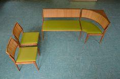 Eckbank + 2 Stühle / Essgruppe Mid Century 60er Jahre, Teak, Geflecht BERLIN | eBay