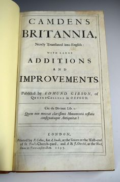 Sale B141015 Lot 248  CAMDEN (William) Britannia, Gibson edition, London 1695, folio, 50 double-page maps (6 folding), 9 plates, few small tears, engraved headpieces, recently rebacked half calf  - Cheffins