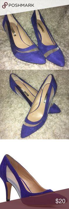 Audrey Brooke Blue Suede shoes Audrey Brooke blue suede heels with mesh details. Low heel pumps. Audrey Brooke Shoes Heels