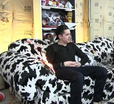 Aesthetic: Aleks sitting on the couch while its on fire Cow Chop, Rooster Teeth, Dan And Phil, Comedians, Youtubers, Creatures, Fire, Stitch, Celebrities