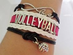 Volleyball bracelet, Volleyball gift, Volleyball jewelry, Volleyball Mom Gift , Sports Team jewelry, Infinity Volleyball, Black/White/Pink by CheerSportsGifts