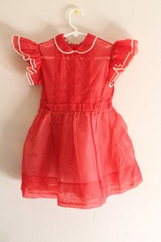 1950s Girls Swiss Dot Dress -- 50s 60s Vintage Child's Red & White Ruffled Party Dress - Holiday Dress