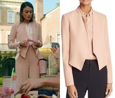 """1x06 Cristal Flores (Nathalie Kelley) wears this pink collarless blazer in this episode of Dynasty, """"I Exist Only For Me"""". It is the Alice + Olivia Rose Tan Roxanne Collarless Jacket. Buy it HERE for $237.00 Worn with: Alice + Olivia Pants, Rag & Bone Blouse, Cuero & Mor Bag"""