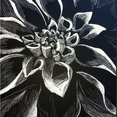 A Flower On Scratch Art Board That I Did