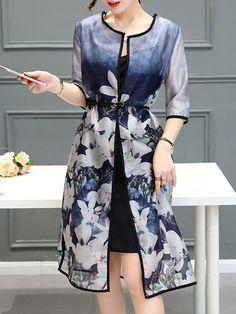 Collarless  Gradient Printed  Half Sleeve Shift Dresses