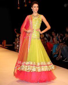 Lime Green & Fuchsia Runway Lehenga Set - Buy Kisneel By Pam Mehta* Online | Exclusively.in Shop Online | Indian Bridal Wear | Wedding Wear