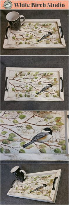 Shabby Chic Hand painted Serving Tray, Chickadee bird and branches, Boxed in with reclaimed peeling paint barn wood, Summer porch, Rustic  This unique piece is 19 in x 11 in.   This Serving Tray has original Acrylic painting on reclaimed pallet wood. The hand painted chickadee and tree branches are framed in with pieces of reclaimed, white peeling paint barn wood. The handles are hammered metal black, aged slightly.