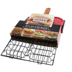 This 3 piece set comes with a Stuff-A-Burger basket, burger press and recipe book. Everything you need to make a delicious stuffed hamburger!