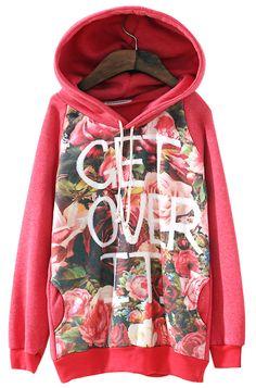 Red Hooded Long Sleeve Letters Rose Print Sweatshirt - Sheinside.com