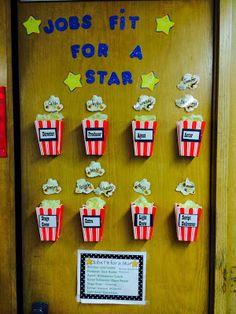Classroom jobs: Movie theater theme. More movie theme classroom pics.